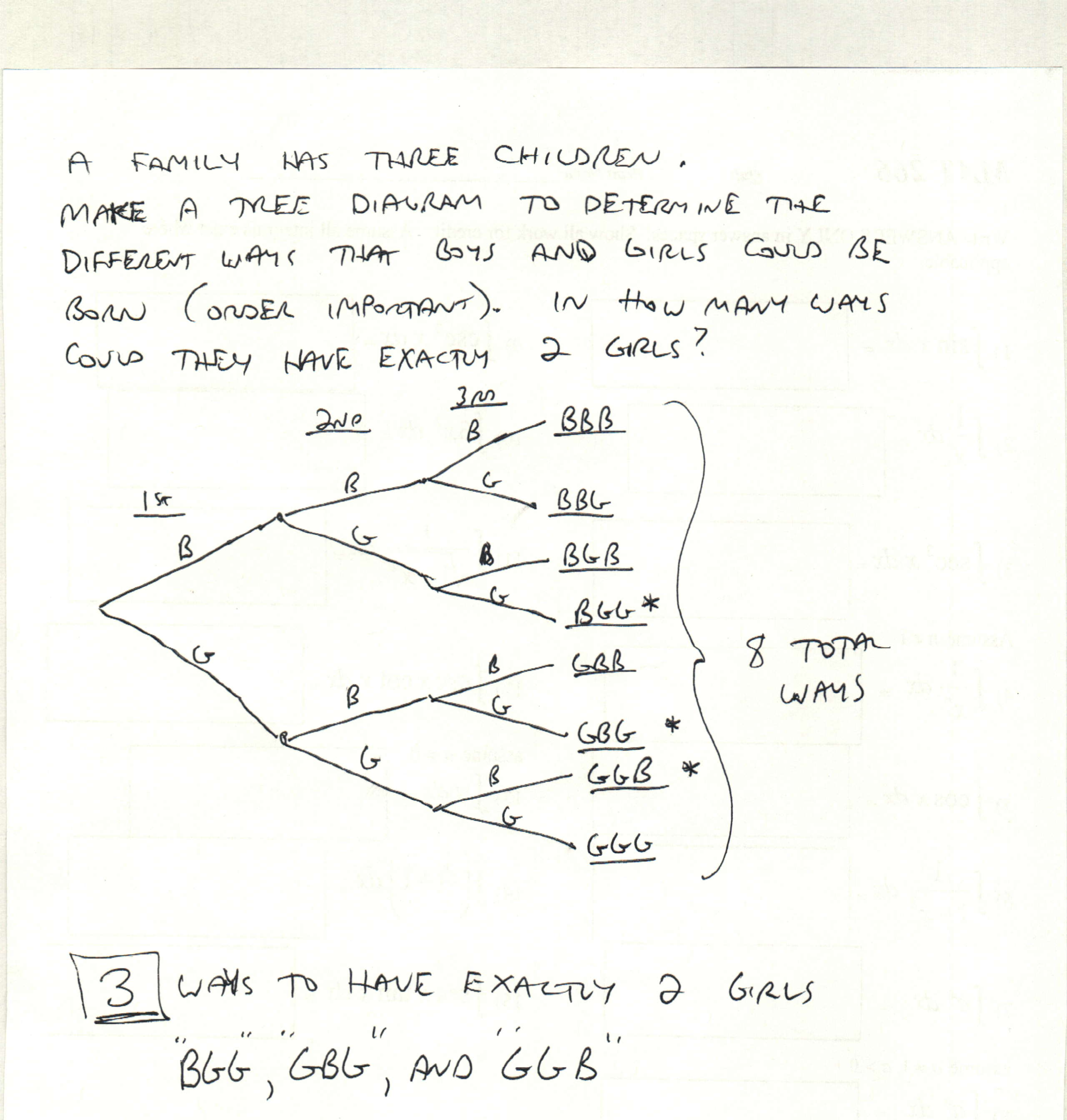 Mat 142 subject 3 bg tree ag make a tree diagram to determine the different ways that they could have boys and girls order important in how many ways could they have exactly 2 girls pooptronica Images
